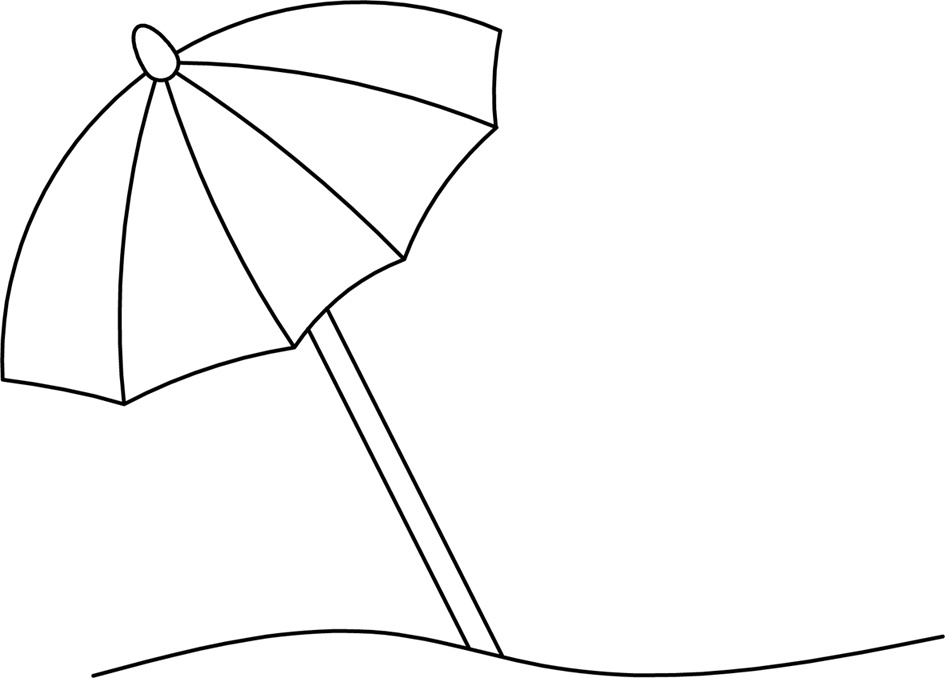 Umbrella letters within. Beach clipart black and white