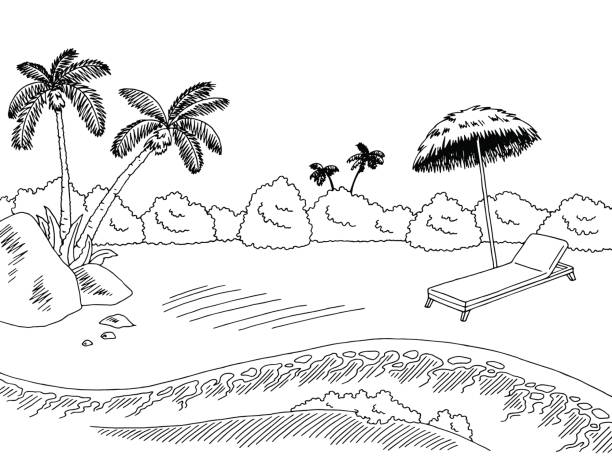 Beach clipart black and white. Station