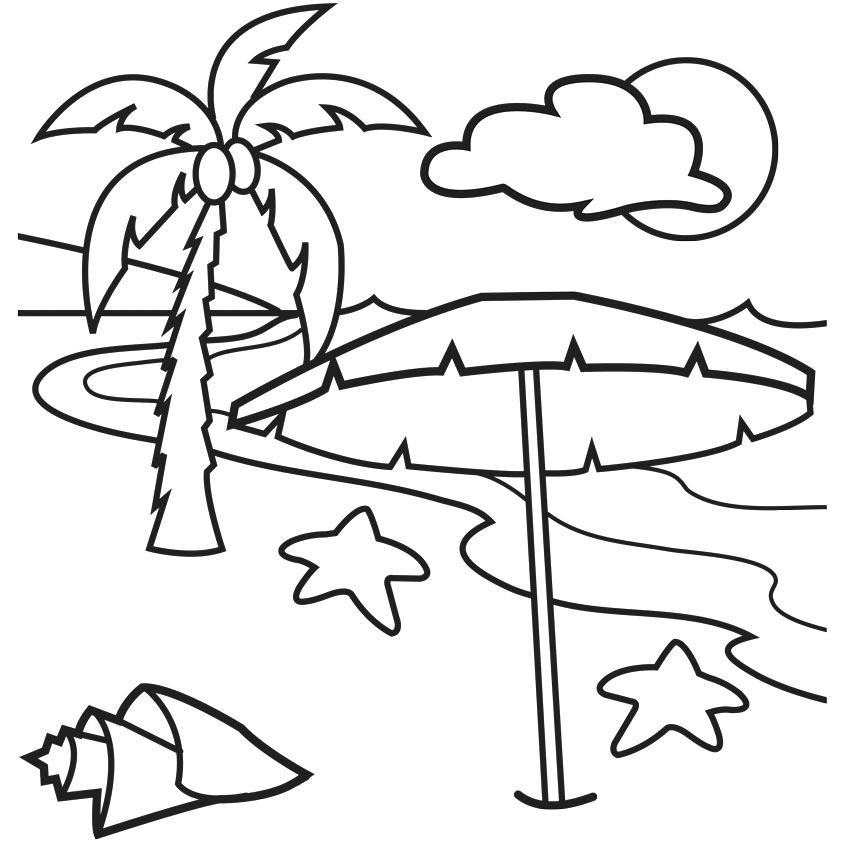 Beach clipart black and white, Beach black and white ...