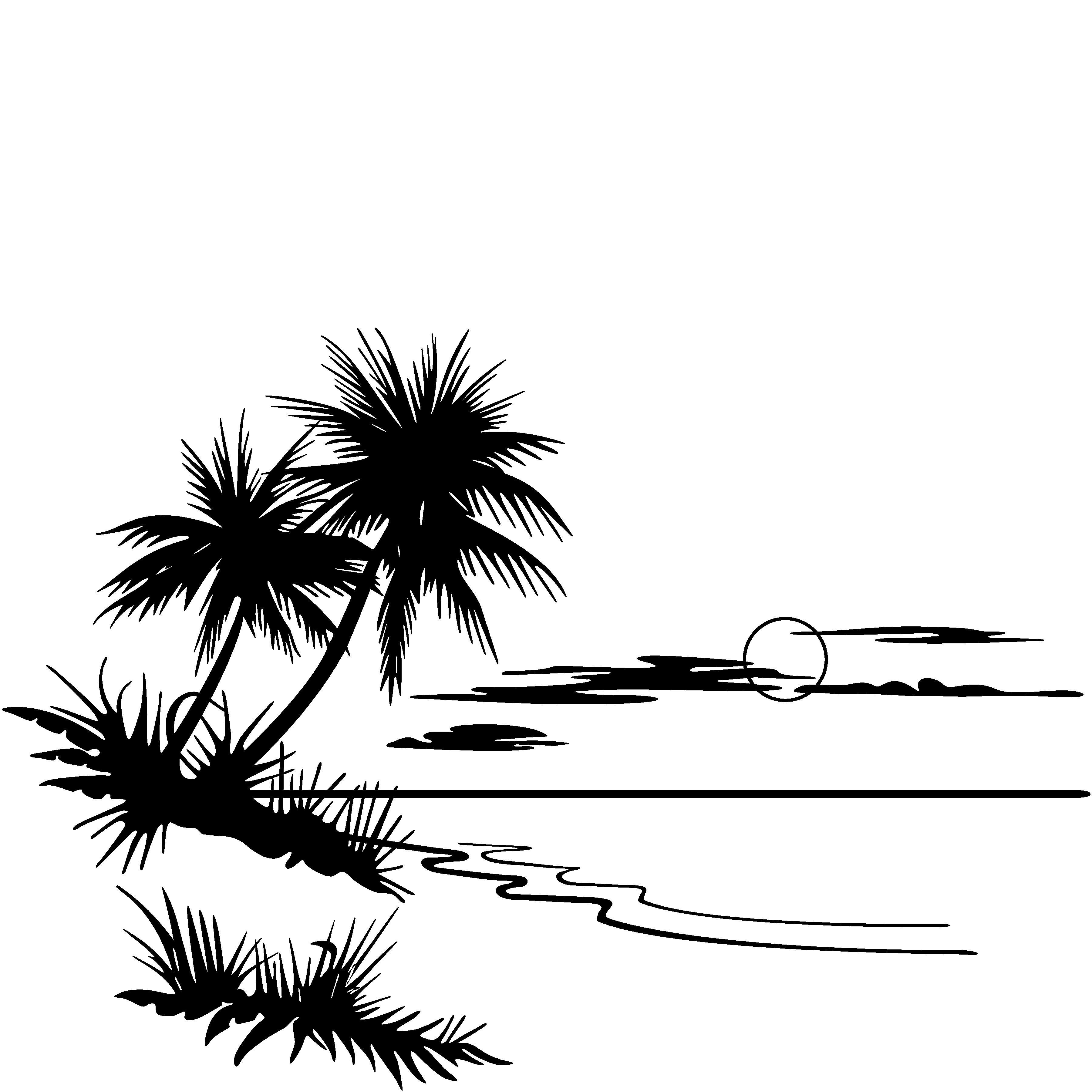 Panda free images palmtreebeachsunset. Beach clipart black and white