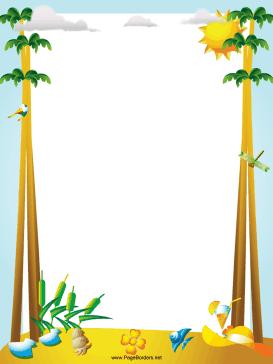 Printable palm tree border. Beach clipart borders