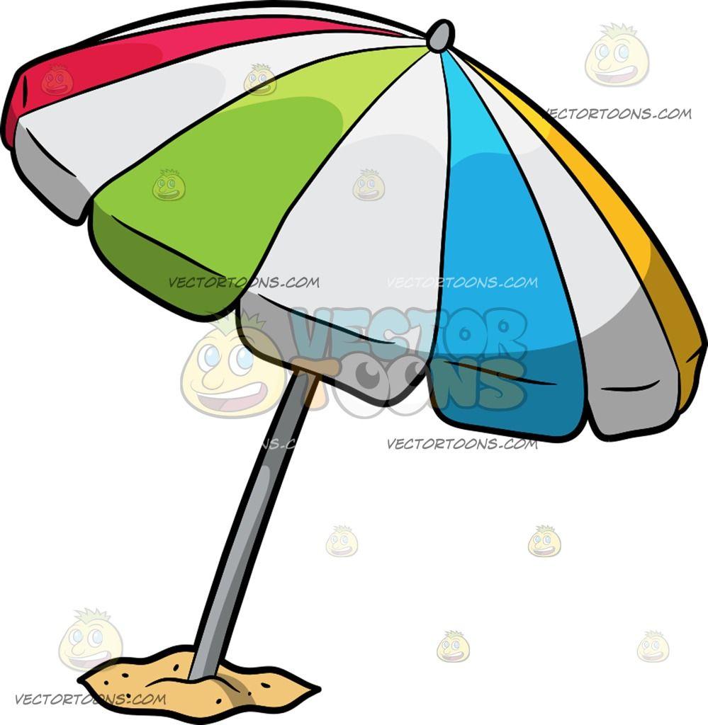 Beach clipart cartoon. A umbrella vector toons