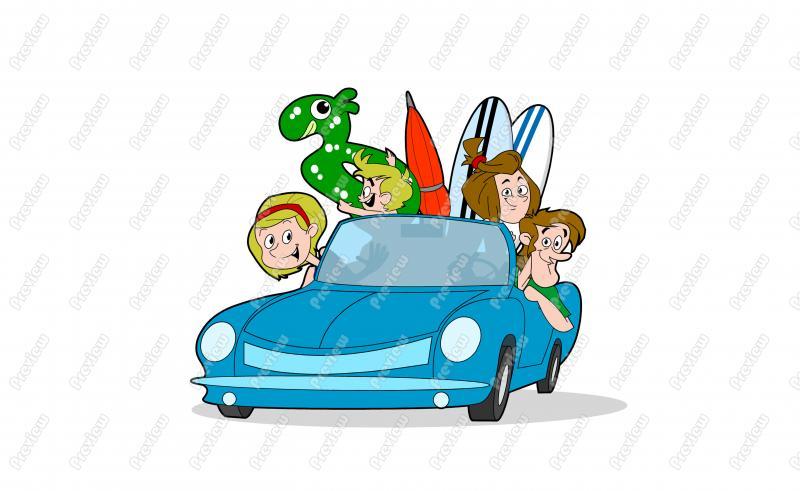 Beach clipart cartoon. Family driving character clip