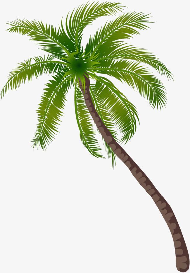 Pattern green trees seaside. Beach clipart coconut tree