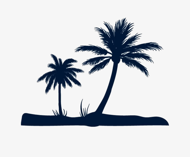 Silhouette black png image. Beach clipart coconut tree