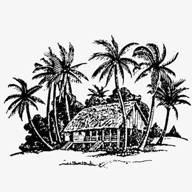 Beach clipart coconut tree. House clip art cartoon