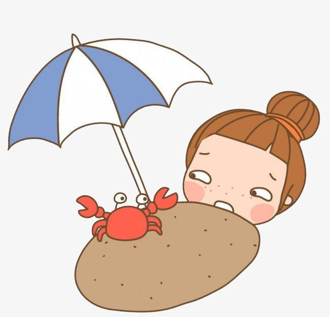 Look girl cartoon hand. Beach clipart crab