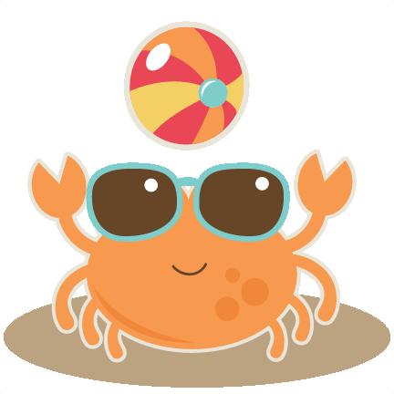 With ball svg cut. Beach clipart crab