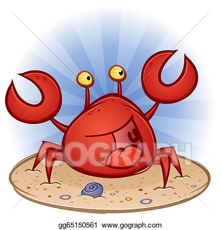 Vector art cartoon character. Beach clipart crab