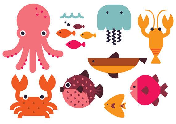 Beach clipart cute. Sea animal vector fish