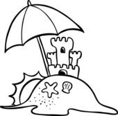 Sandcastle clip art royalty. Beach clipart drawing