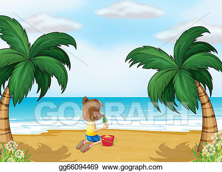 Vector art a little. Beach clipart drawing