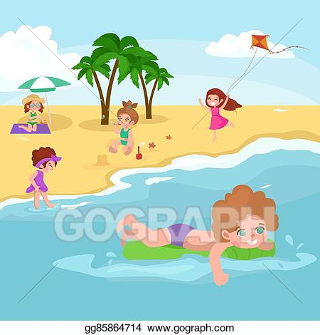 Vector art fun at. Beach clipart drawing