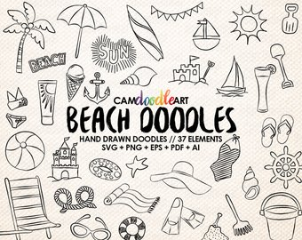 Beach clipart drawing. Etsy doodles vector pack