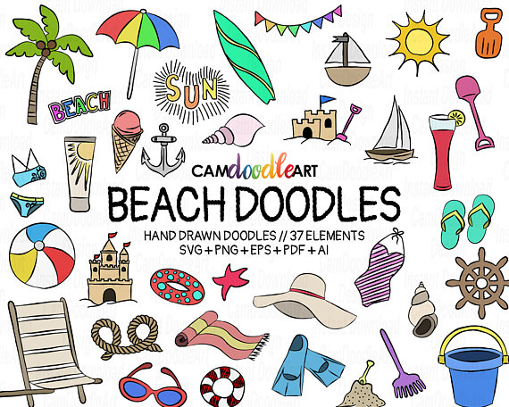 Beach clipart drawing.  doodles vector pack