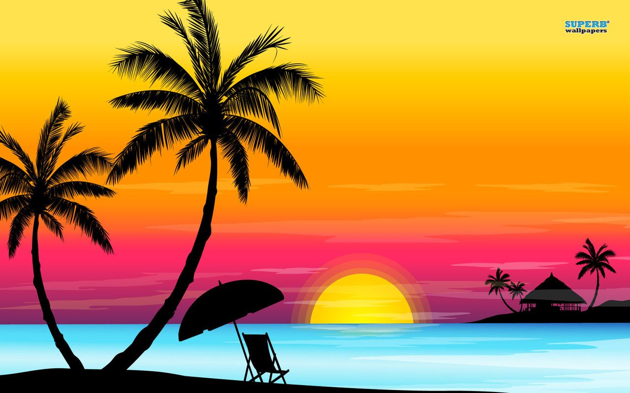 Beach clipart easy. Sunset cool wallpapers was