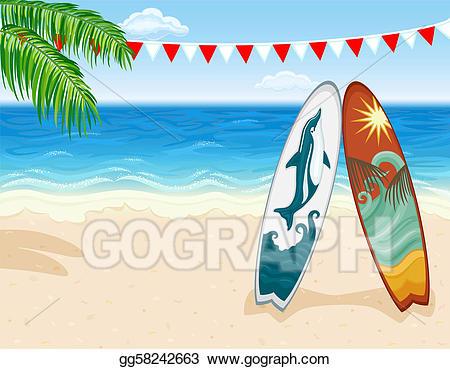 Beach clipart easy. Vector art surf at