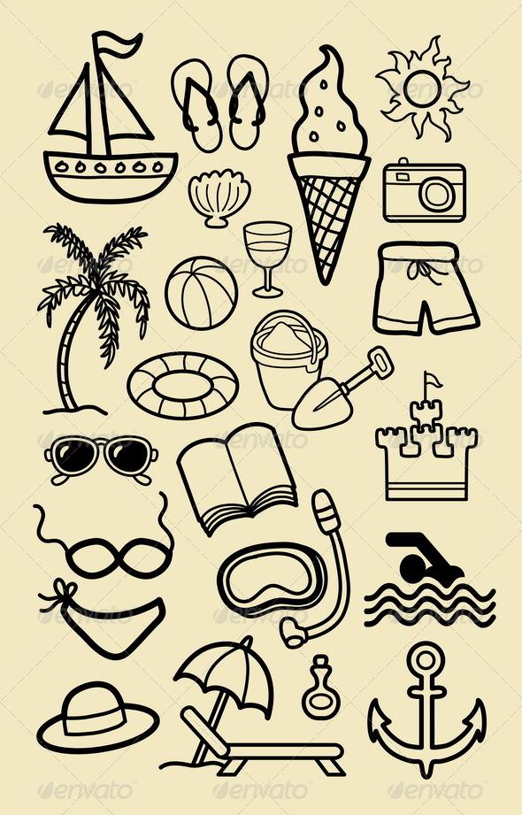 Summer icon sketches vector. Beach clipart easy
