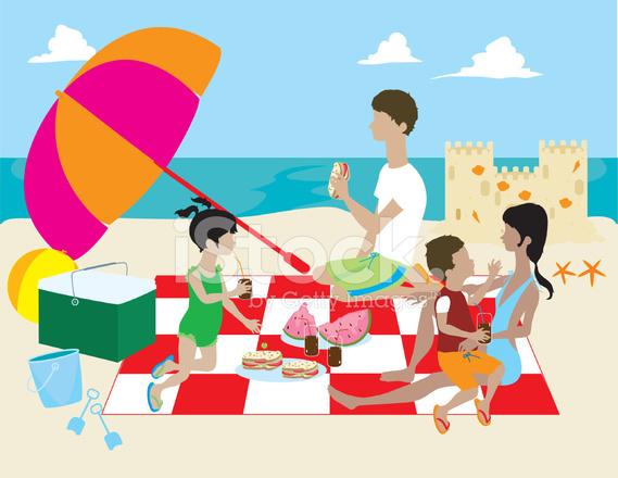 Beach clipart family. Having picnic on stock
