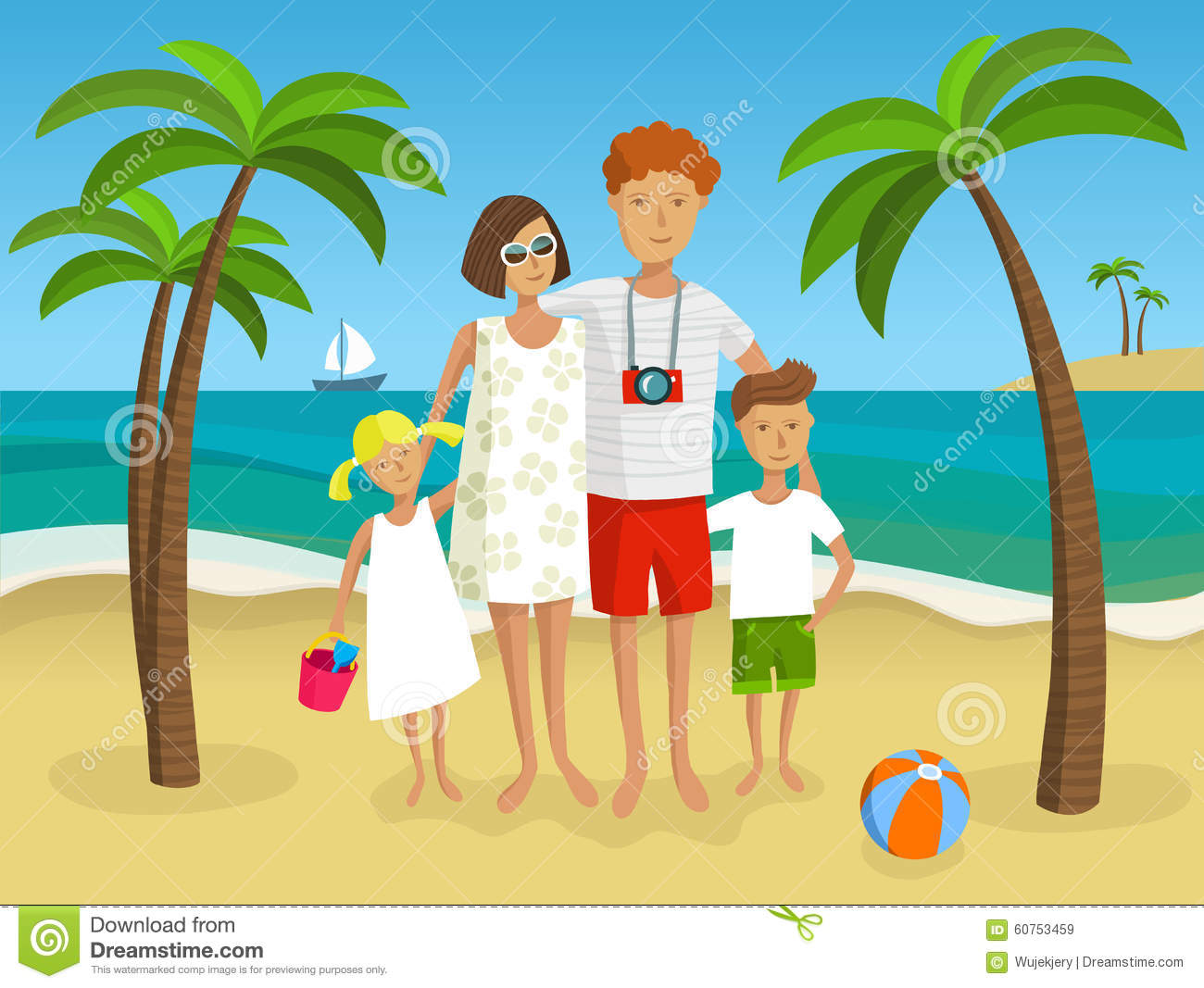 collection of vacation. Beach clipart family