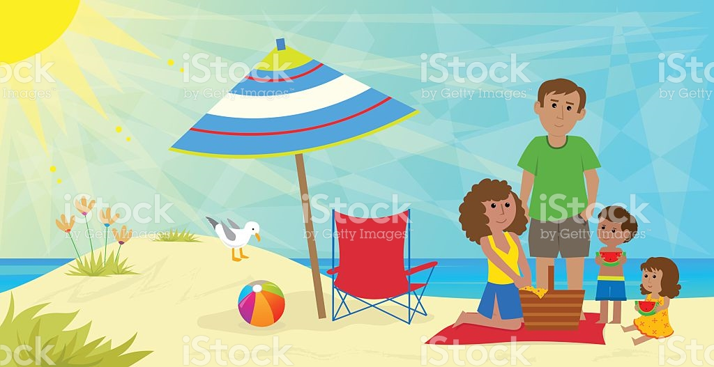Picnic activity pencil and. Beach clipart family