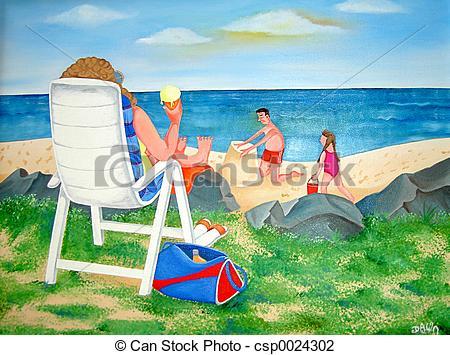 Beach clipart family.