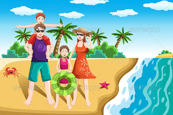 Vacation . Beach clipart family