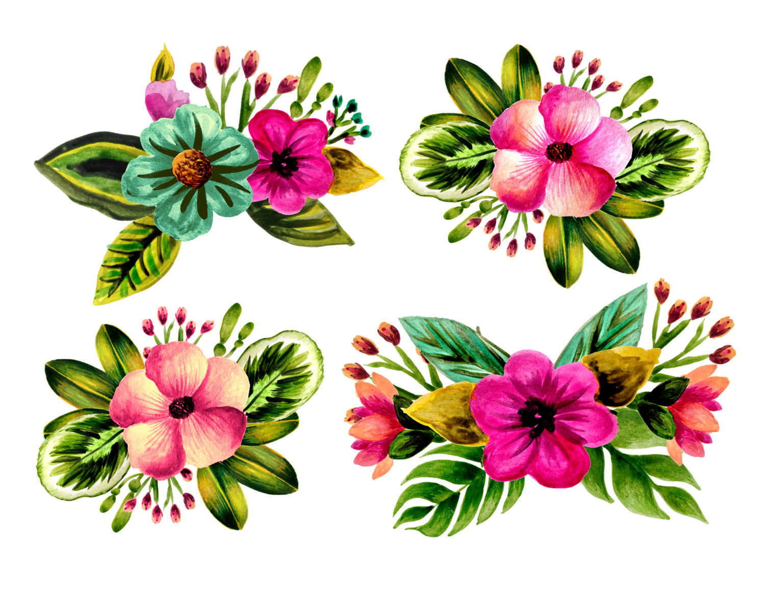 Beach clipart flower. Floral tropical watercolor leaves