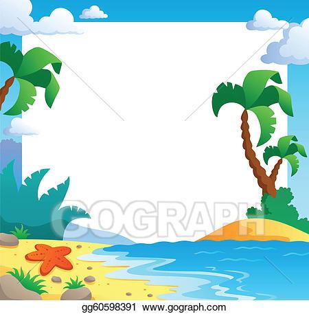 Beach clipart frame. Vector theme illustration gg