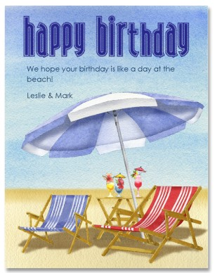 Printable day card template. Beach clipart happy birthday