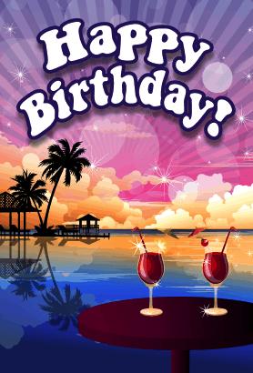 Beach clipart happy birthday. This sunset theme card
