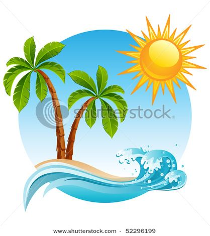 Beach clipart logo. Vector illustration two palm