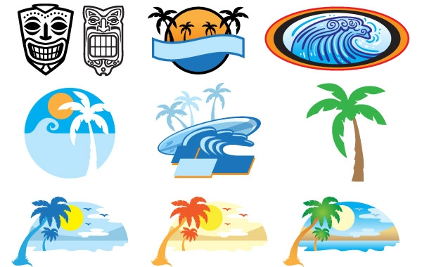 Beach clipart logo. Hawaii clip arts art