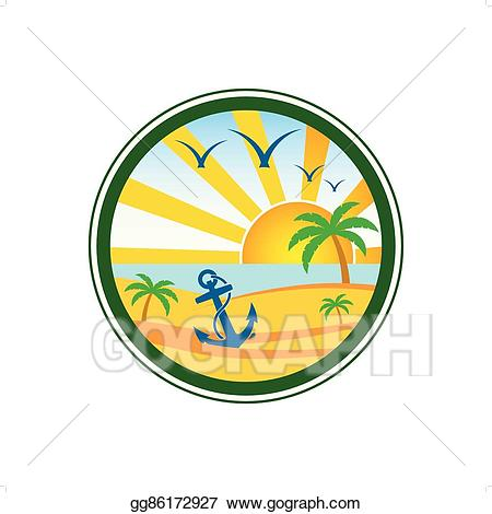 Beach clipart logo. Vector art club drawing