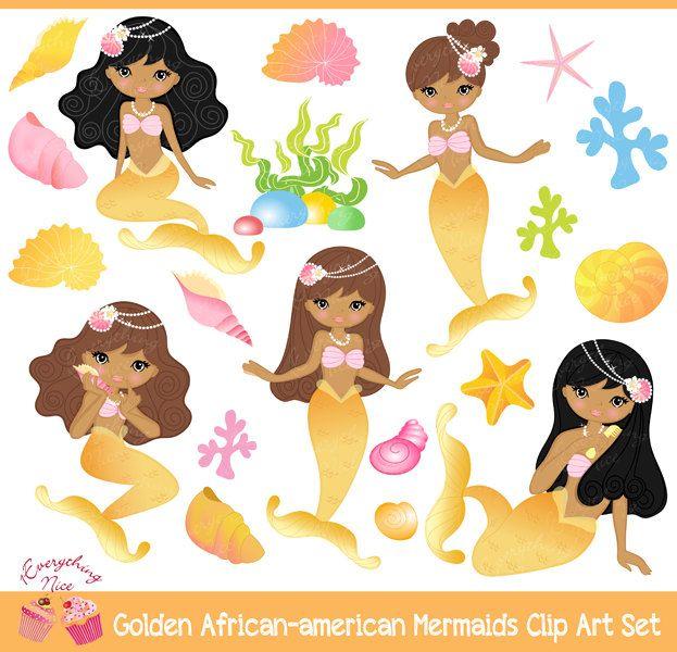 African american golden mermaids. Beach clipart mermaid