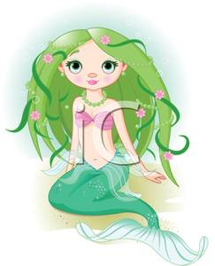 Beach clipart mermaid. A with green hair