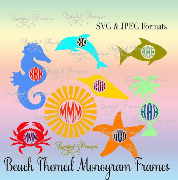 Svg frames summer sea. Beach clipart monogram