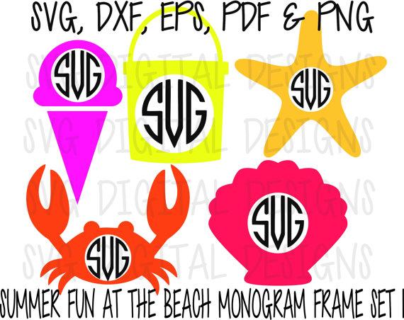 Beach clipart monogram. Summer svg frame set