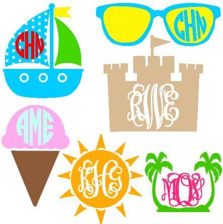 Beach clipart monogram.  best cutting files