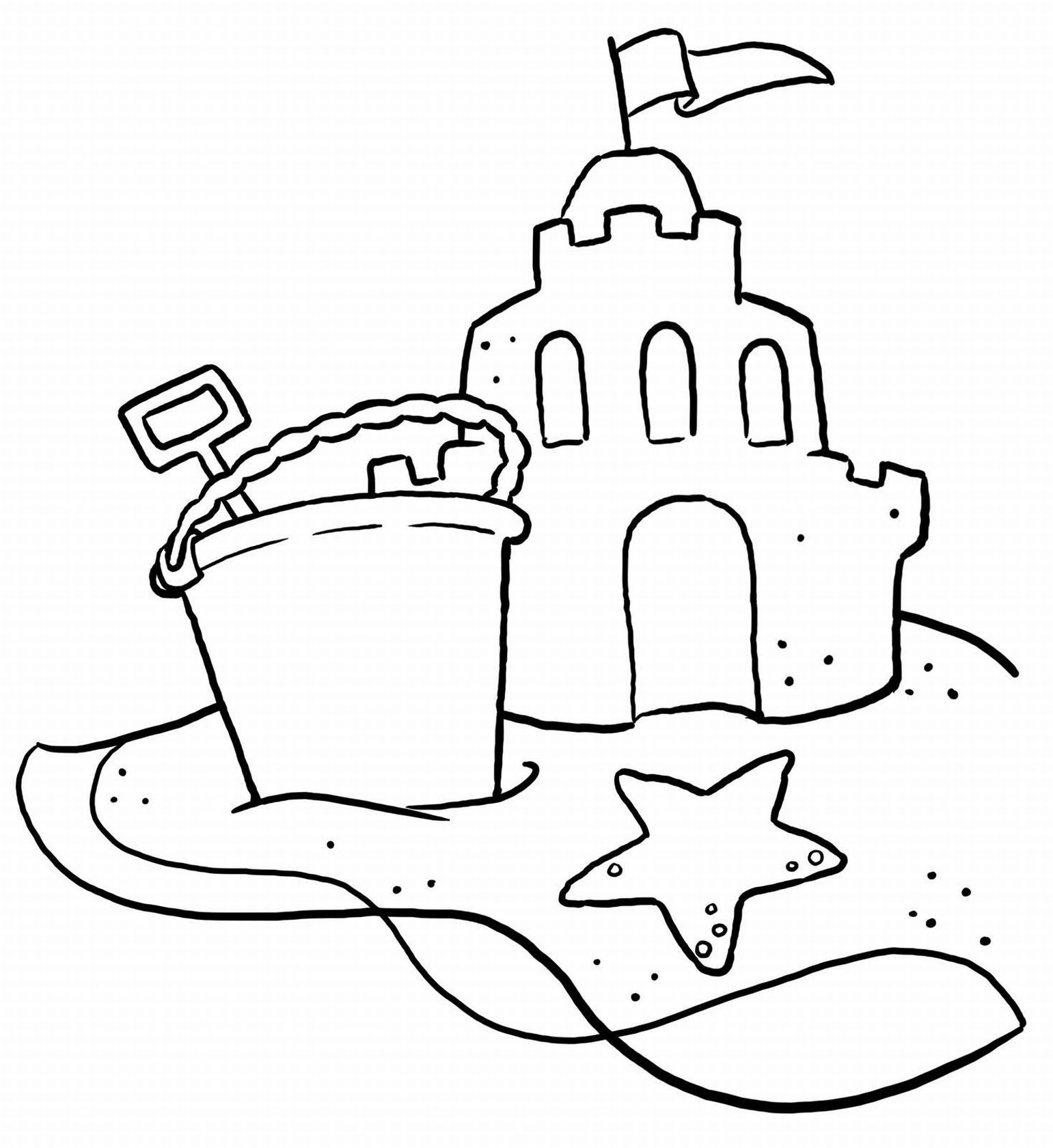 Beach clipart outline. Coloring pages free printable