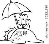 Black and white free. Beach clipart outline