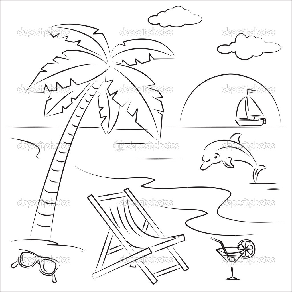 Drawing black and white. Beach clipart outline
