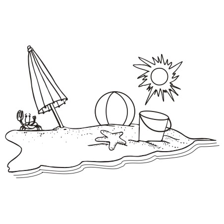 Black and white . Beach clipart outline