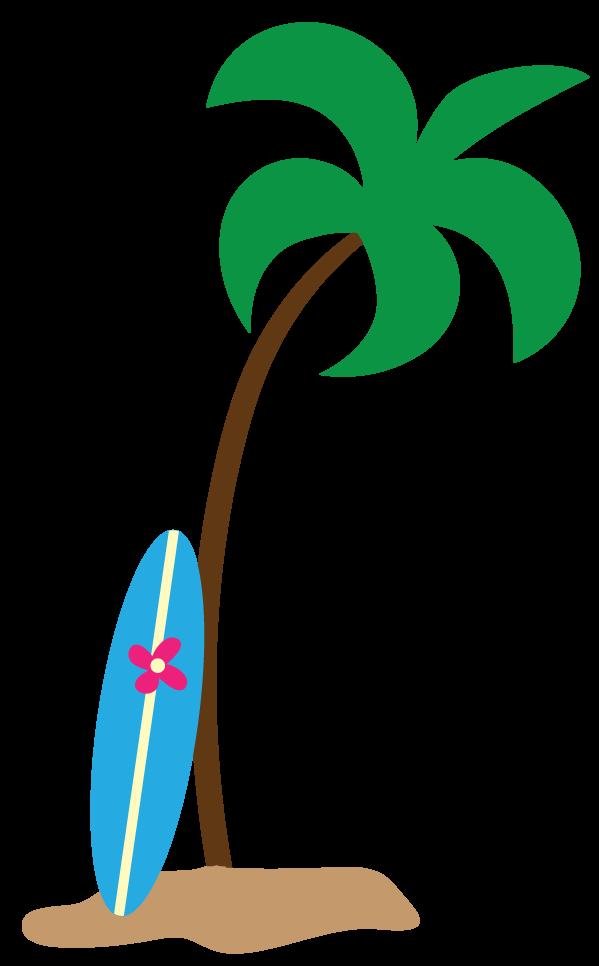 Palm tree beach panda. Surfing clipart luau decoration