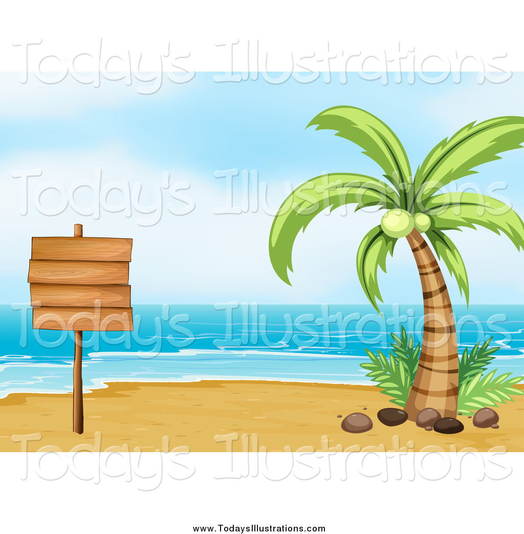 Beach clipart palm tree. Of a sign with