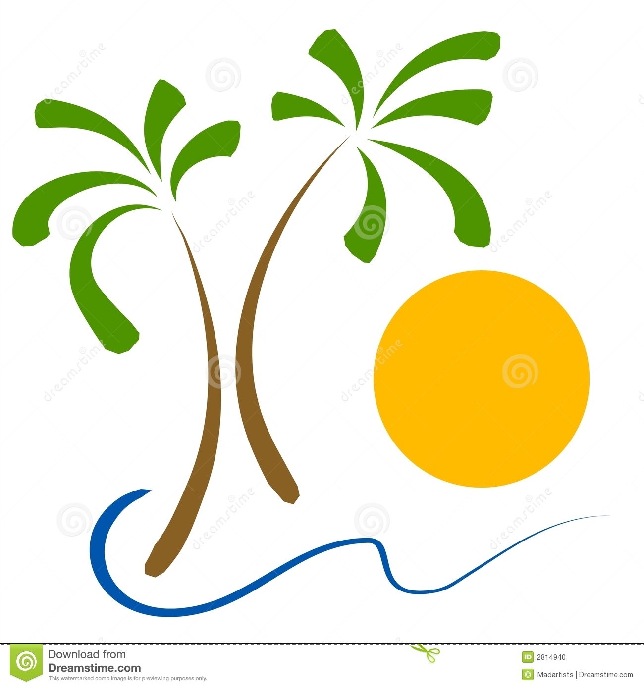 Trees sun clip art. Beach clipart palm tree