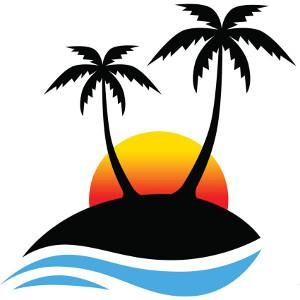 palm tree decals. Sunset clipart logo