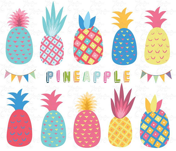 Clip art colorful pack. Beach clipart pineapple
