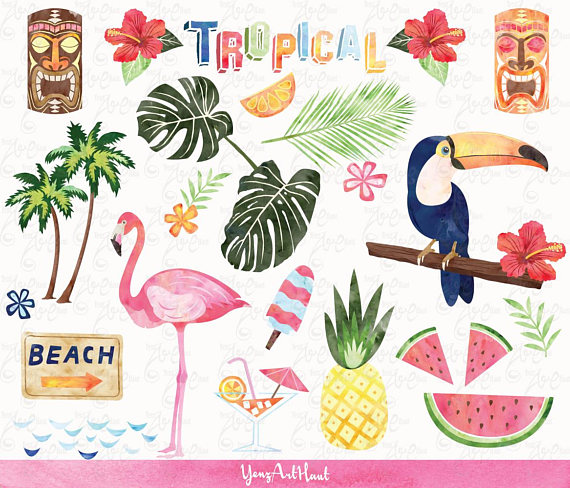 Watercolor tropical clip art. Beach clipart pineapple