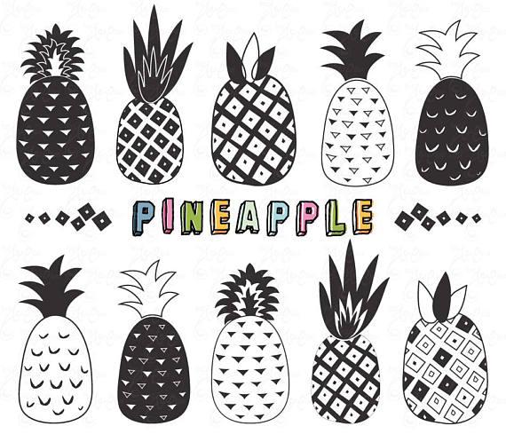 Clip art doodle pack. Beach clipart pineapple